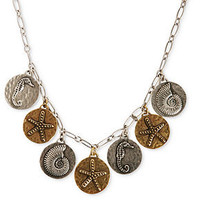 Lucky Brand Necklace, Two-Tone Sea Charm Pendant Necklace - Fashion Necklaces - Jewelry & Watches - Macy's