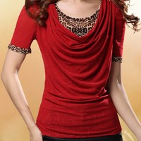 Streetstyle  Casual Designed Round Neck Ruched Leopard Blouse