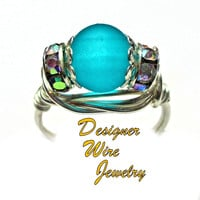 DWJ0440 Stunning Ocean Inspired Teal Sea Glass Silver Wire Wrap Ring All Sizes