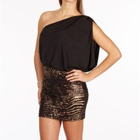 Black/Leopard Single Shoulder Foil Dress