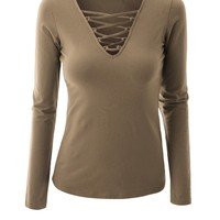 V-Neck Lace-Up Plain Long Sleeve T-Shirt
