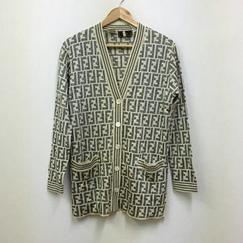 Vintage Fendi Zucca/ Fendi Monogram/ Fendi Italy/ Fendi Long Sleeve Cardigan Small