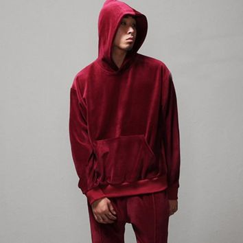 Men Velour Hoodies Wine Red / Black New 2017 Streetwear Hip Hop Male Velvet Hooded Sweatshirts Hoody Free Shipping