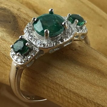 1.7 CT  Genuine Emerald & Diamond Platinum and 925 Sterling Silver Ring