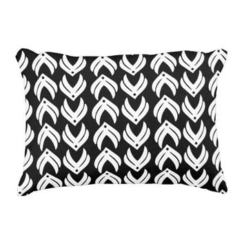 Black and white tribal style pattern accent pillow