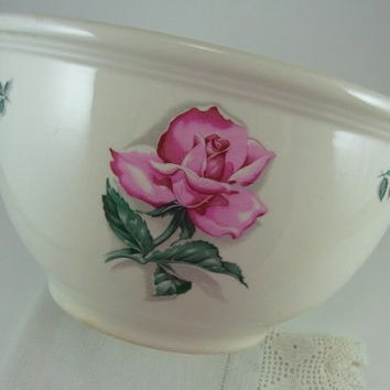 Homer Laughlin Rhythm Rose Large Mixing Bowl Vintage Kitchen Collectible Cottage Kitchen Decor