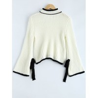Bowknot Embellished Bell Sleeve Sweater (WHITE,ONE SIZE(FIT SIZE XS TO M)) in Sweaters & Cardigans | DressLily.com