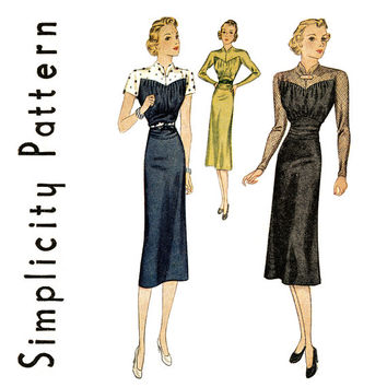 1930s Dress Pattern Bust 32 Simplicity 2806 Sheer Shoulders Cocktail Evening Fitted Midriff Slim Sheath Dress Womens Vintage Sewing Patterns