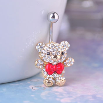 Red Bow Tie Little Bear Belly Button Rings Body Piercing Jewelry for Cute Girls Womens 316L Surgical Steel Pircing 14G 1.6mm Bar