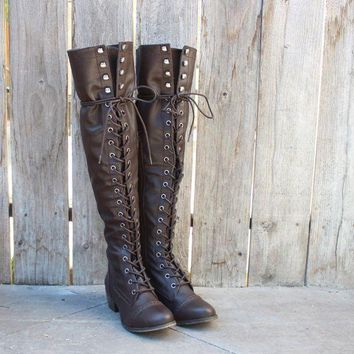 ESBQFN over the knee laced up boots - dark brown