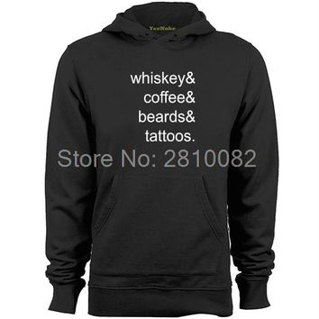 Whiskey & Coffee & Beard & Tattoos - Drinking Hoodie Sweater