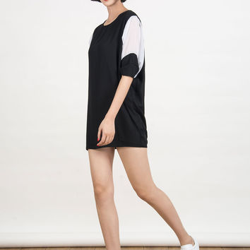 Black Contrast Batwing Sleeve Dress