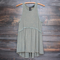 olive green acid wash high-low racer back tank