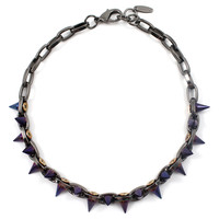 Cosmic Warrior Double Row Spike Choker - Hematite/ Cosmic Blue Spikes