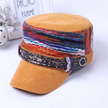 Women Stripe Corduroy Flat Cap Casual Outdoor Windproof Warm Hat Colorful Wool Knitted Cap