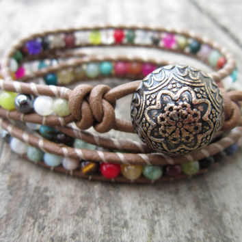 Mixed Stone Leather Wrap Bracelet 3 wrap by NoliePolieOlies