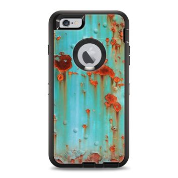 The Teal Painted Rustic Metal Apple iPhone 6 Otterbox Defender Case Skin