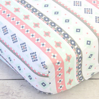 Crib Sheet | Trinity's Tribal Aztec Stripe Crib Baby Bedding Set
