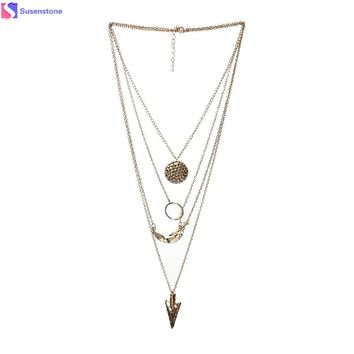 SUSENSTONE Irregular Crystal Gold Pendant necklace Fashion Women Multilayer Chain Statement Necklaces