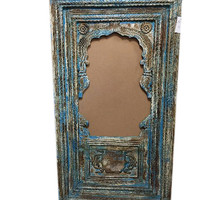 Antique Indian Arched Mirror Frame Jharokha Wall Decor Green Patina Asian Decor Accessories