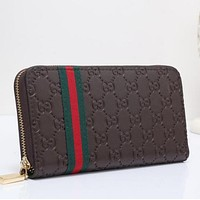 Gucci Popular Women Stripe Green Red Print Leather Zipper Wallet Purse I