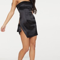 Black Satin Bandeau Extreme Split Bodycon Dress