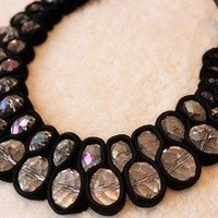 Fashion Oval Crystal power Bib Necklace new arrival 1pcs unique design