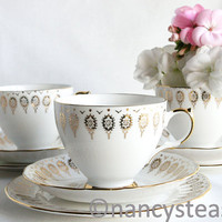 Classic white and gold tea cup, saucer and plate: Queen Anne tea set just perfect for a bridal or baby shower or an elegant tea party