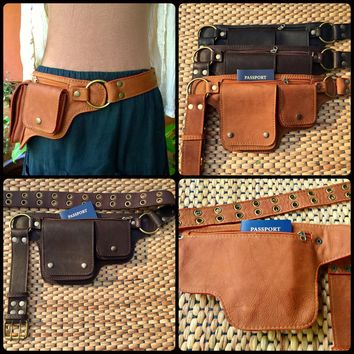 Leather Belt Bag | Fanny Pack | Travel Utility Belt Purse | Waist Bag - The Hipster