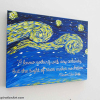 Inspirational Quotes Vincent Van Gogh Starry Night Style Abstract Canvas Art - Canvas Kids Art - Whimsical Painting - Christmas Gift Ideas