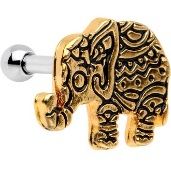 "16 Gauge 1/4"" Gold Tone Boho Elephant Tragus Cartilage Earring"