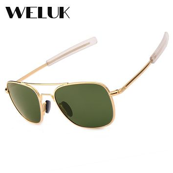 WELUK Fashion Brand Military AO Polarized Army Pilot Sunglasses American Optical Glass Lens Sun Glasses Oculos De Sol Masculino