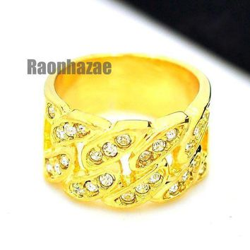 Hip Hop Fashion Iced Out Cuban Link Band Style Gold Plated Ring N004g