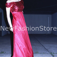2013 High Quality Short Sleeve Sequins Floor Length Sexy Red Prom Dress