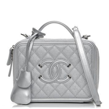 CHANEL Metallic Caviar Quilted Medium CC Filigree Vanity Case Silver