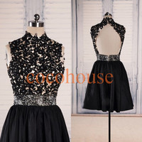Black Lace Applique Beaded Short Prom Dresses Back Open Sexy Bridesmaid Dresses Sex Homecoming Dresses Party Dress Wedding Party Dresses