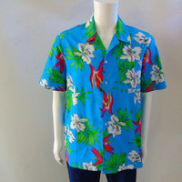 Hawaiian Shirt, GE Engine Services Employees Promo , 9th Wave by Scorpio, Polynesian Colors Bird of Paradise w Orchids, Men's Sz L USA Made