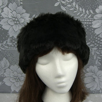 Black Mink FAUX FUR HAT, Pillbox Black Fleece Hat, Women's Fur Hat, Winter Faux Fur Hat