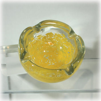 Art Glass Ashtray, Splatter Yellow Glass, Murano Style Ashtray, Yellow Speckled, Cased Glass Ashtray, Tobacciana,