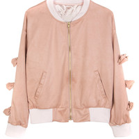 Pink Bow Accent Sleeves Bomber Jacket