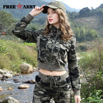 New Casual Fashion Women Camouflage Jacket Sheath Disposition Outerwear Vogue Ladies Coat