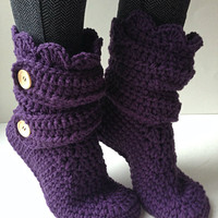 Women's Crochet Dark Purple Slipper Boots, Crochet Slippers, Crochet Booties, Crochet House Shoes, Crochet Winter Boots, Slippers