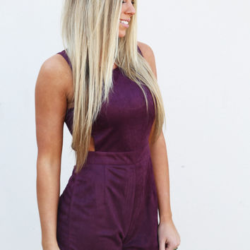 Suede Cut Out Romper {Eggplant}