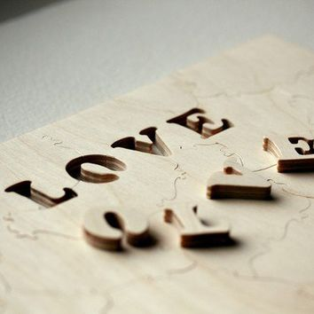 50 piece Wedding Guestbook Puzzle LOVE - modern wooden accent for your event