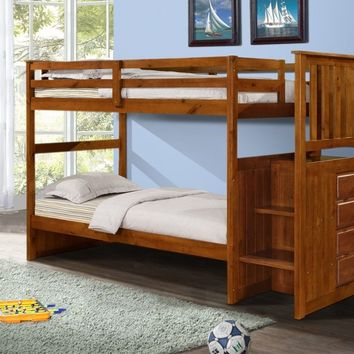 Alexander Espresso Bunk Bed with Stairs
