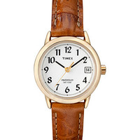 Timex Watch, Women's Easy Reader Luggage Leather Strap 25mm T2J761UM - All Watches - Jewelry & Watches - Macy's