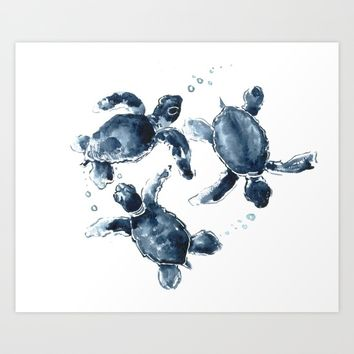 Swimming Sea Turtles Art Print by SurenArt