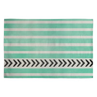 Allyson Johnson Mint Stripes And Arrows Woven Rug