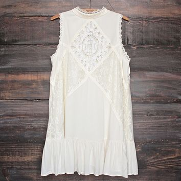 [womens contemporary] mock-neck lace dress in cream