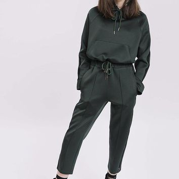 GREY LAB | Relaxed Crop Track Pants - Hunter Green
